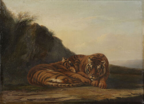 Frederik Lodewijk Huygens-Tigers in a tropical landscape