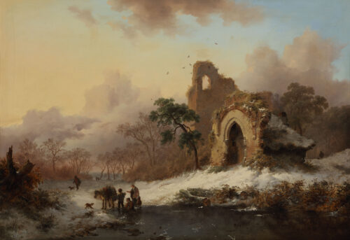 Fredrik Marinus Kruseman - Winter;  faggot gatherers near a ruin by a frozen waterway