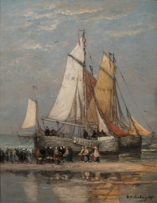 Hendrik Willem Mesdag - Bomschuiten and fisherfolk on the Scheveningen beach
