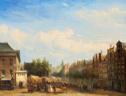 Pierre Tetar van Elven - A view of the Botermarkt, Amsterdam