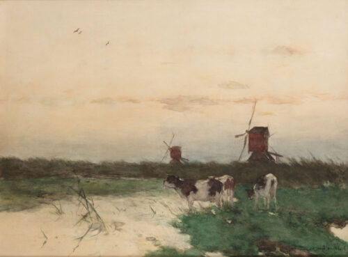 Jan Hendrik Weissenbruch - Mills and cows in a Dutch landscape