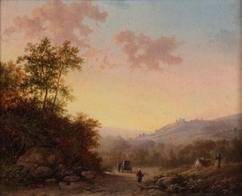 Barend Cornelis Koekkoek - A hilly summer landscape with travellers