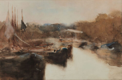 George Hendrik Breitner - An atmosferic view of an Amsterdam canal