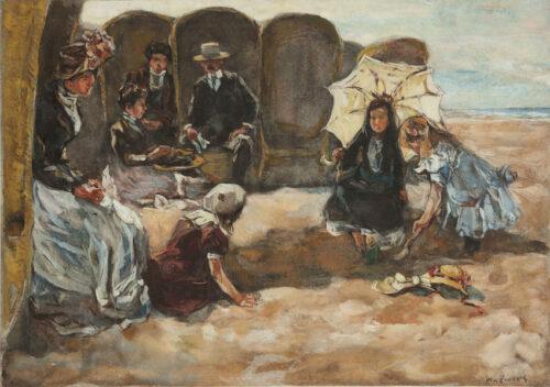 Willem de Zwart - A joyful family at the Scheveningen Beach