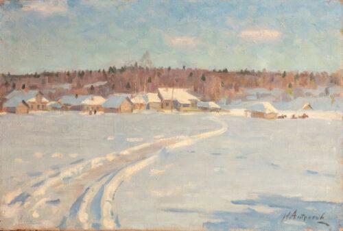 Ivan Grigorievich Antropov - A sunny winterlandscape with aRussian village