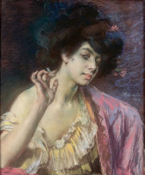Albert Besnard - Femme fatale holding a cigarette