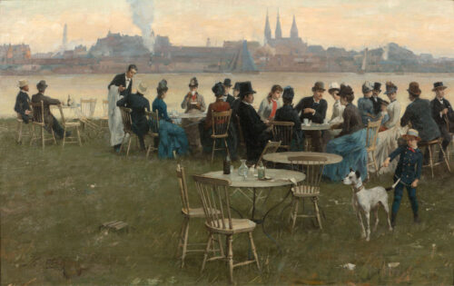 Nicolaas van der Waay-Summer evening at the Tolhuis terrace, Amsterdam