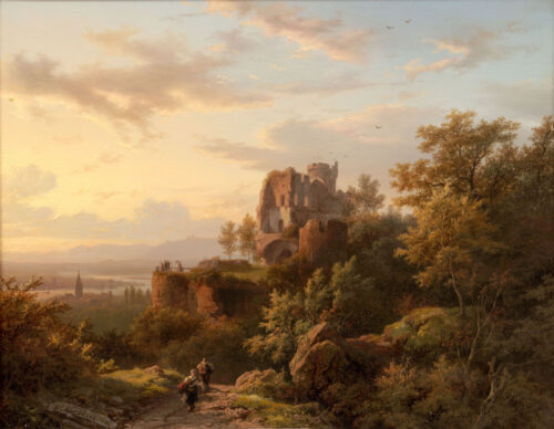 Barend Cornelis Koekkoek - A panoramic landscape with visitors viewing from a tower from a ruined castle