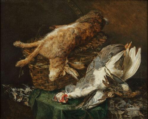 Engelse School - Stilleven met een haas en vogels op een marmeren plint