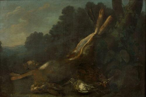 George William Sartorius - Stilleven met een haas en vogels