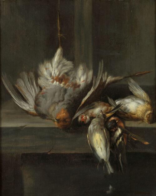Jan Vonck - Patrijzen op een marmeren plint