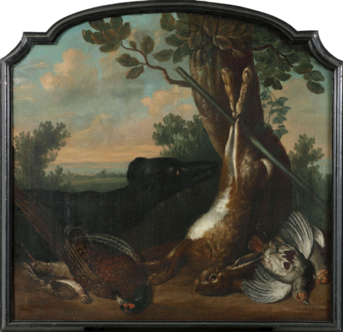 Navolger Jan Weenix - Stilleven met een haas, een fazant en andere vogels in een landschap