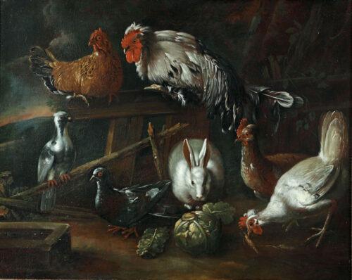 Navolger van Jacomo Victors - Wit konijn, kippen, duiven op een boerenerf