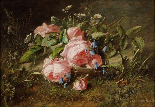 Adriana Johanna Haanen - Woodland with pink roses and blue bells