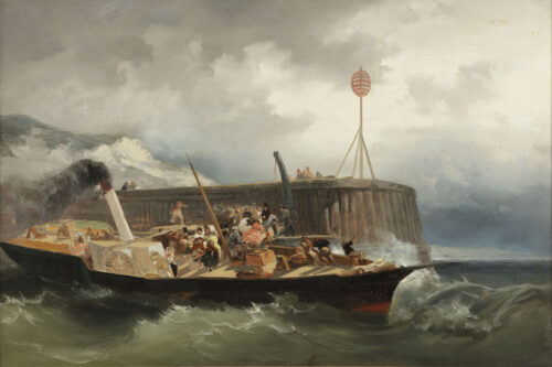 Frans Arnold Breuhaus de Groot - Elegant travellers on a paddle steamer near a jetty in stormy weather