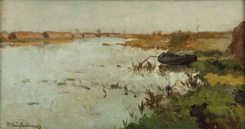 Jan Hendrik Weissenbruch - A Polder with a rowing boat