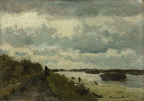 Jan Hendrik Weissenbruch - A horse on path along a canal