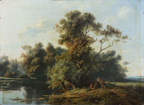 Jan Willem van Borselen ( 1825-1892) Farmers resting on a wooded riverbank