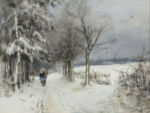 Louis Apol - Winter, wood gatherer on a snowy path in a forest
