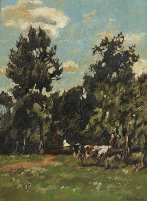 Willem de Zwart - Cows in a wooded meadow