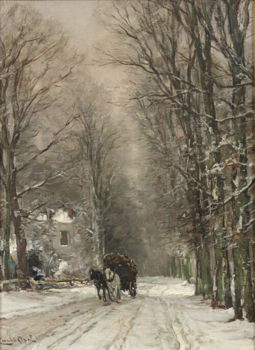 Apol-A horse drawn cart on a snowy forest path