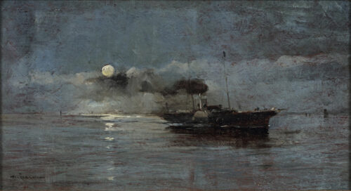 Arvid Claes William Johansson - Effet de nuit; The paddle steamer