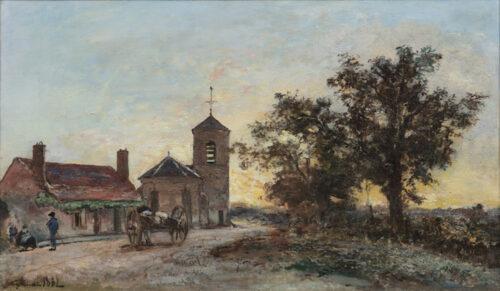 Johan Bartold Jongkind - Eglise de campagne au soleil couchant