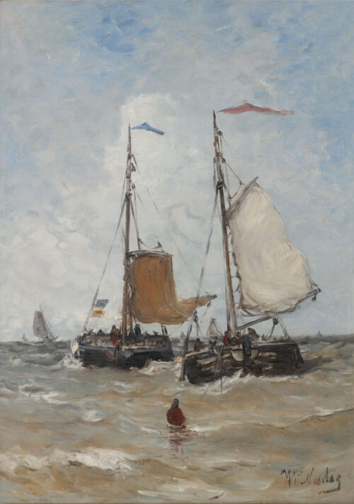 Hendrik Willem Mesdag -  Bomschuiten and fisherman in the breakers, Scheveningen