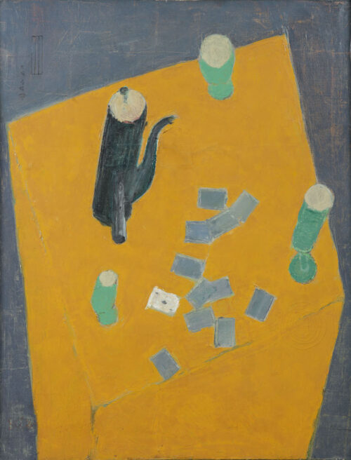 Kiba Takanobu - Stillife with a jug and playing cards on a table