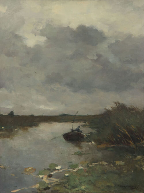 Johannes Hendrik Weissenbruch - A Dutch Polderlandscape with a fisherman in a rowingboat