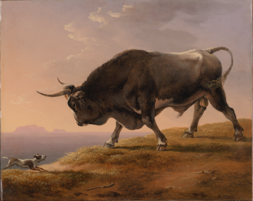Hendrik Voogd - A Bull and a Dog in a Italianate Landscape