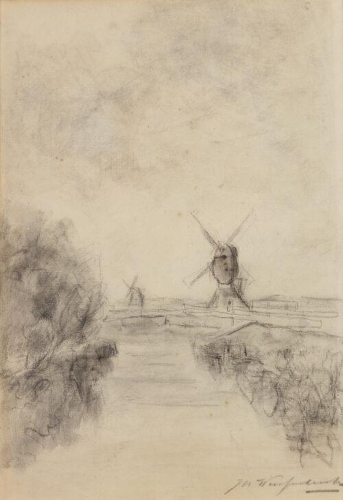 Johan Hendrik Weissenbruch - Poldervaart with windmills along the Amstel, Noorden-Woerdense Verlaat