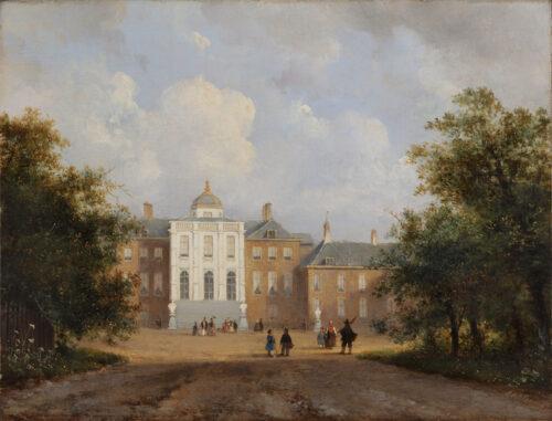 Lodewijk Johannes Kleijn - Palace Huis ten Bosch, the Hague, with elegant figures strolling