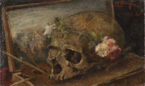 Maurice Dupuis - Stillife with a painters box and a skull with a rosary