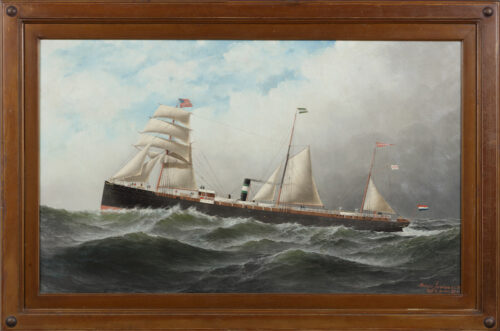 Antonio Nicolo Gasparo Jacobsen - Portrait of the Steamship Schiedam