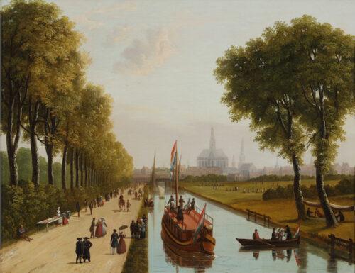 English-Dutch School circa 1806 - Strolling along the trekvaart