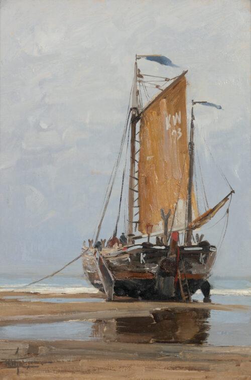 Hendrik Willebrord Jansen - Bomschuit KW 93 on the Katwijk beach