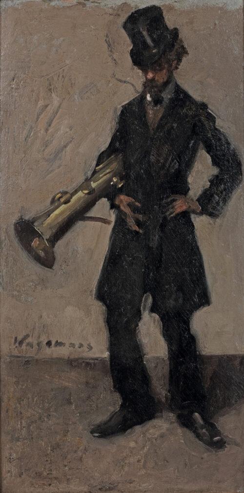 Maurice Wagemans - The painter Victor Simonin holding an ophicleide (Bastuba)