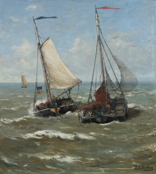 Hendrik Willem Mesdag - Departing Bomschuiten