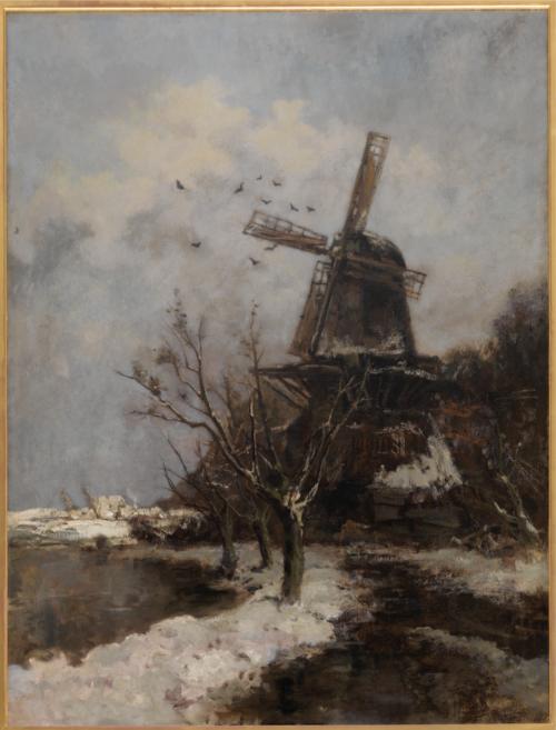 Jacob Maris-Windmill Jour neigeux