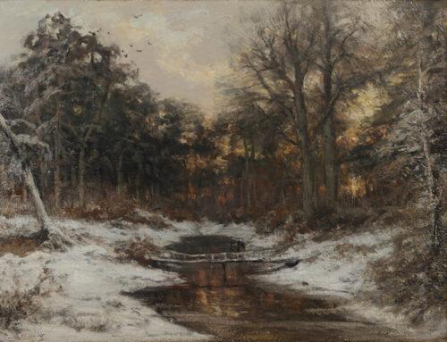 Louis Apol - A winterlandscape with figures on a little bridge
