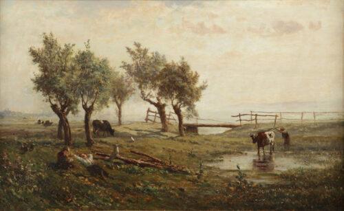 Paul Joseph Constant Gabriel - Landscape with figures and cattle