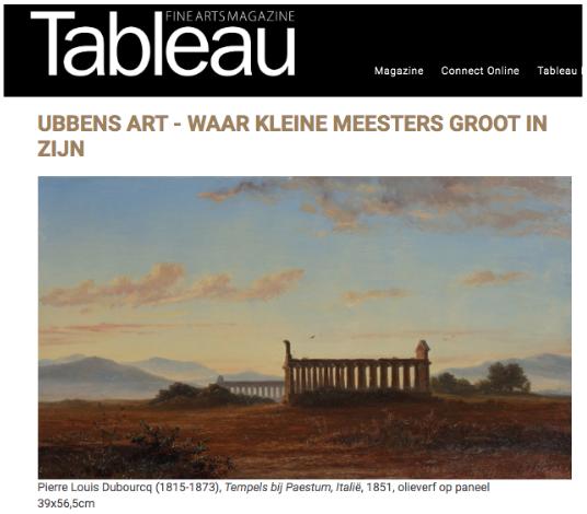Job Ubbens - Artikel TABLEAU FINE ARTS MAGAZINE sept 2020