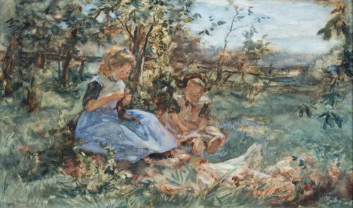 Johannes Evert Hendrikus Akkeringa - Girls knitting in a garden