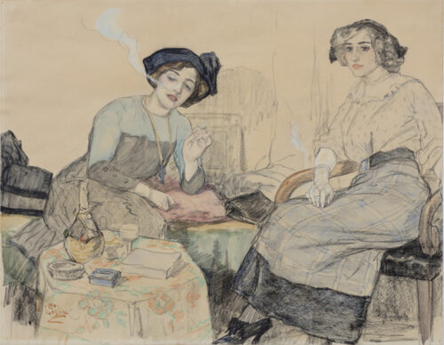Leo Gestel - Beau Monde, elegant ladies smoking in an interior