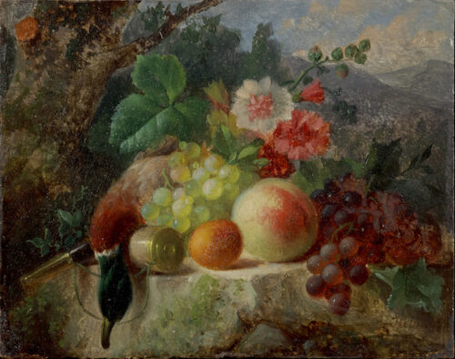 Hendrik Jan Hein-Flowers, fruit, a dead duck and a powder horn on a rock in a hilly landscape