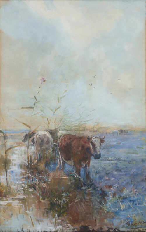 Willem Maris-Cows in a meadow near the dunes