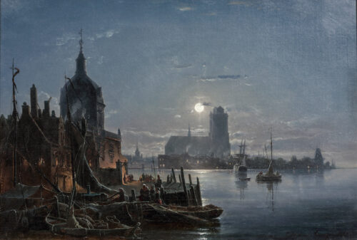 Carl Frederik Sorensen - A view of the Groothoofd, Dordrecht, with the Grote Kerk at night