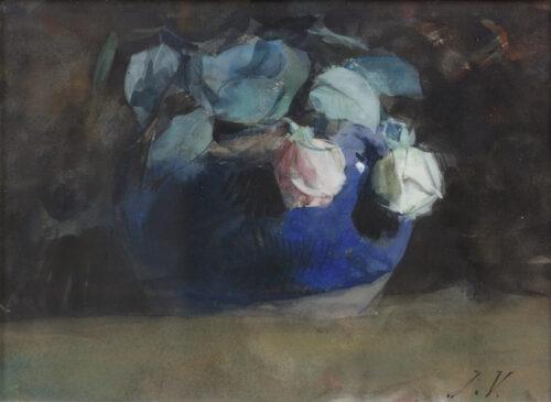 Jan Voerman Senior-Roses in a blue vase
