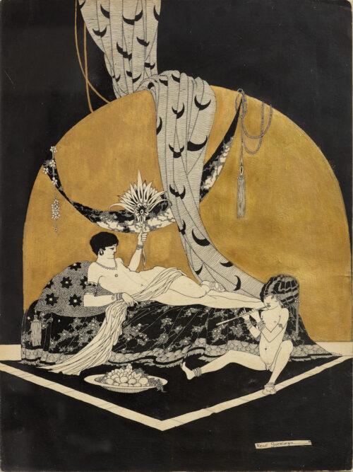 Joseph Rene Gockinga-Reclining nude and a boy playing the flute